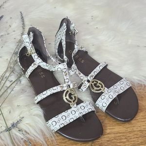 Guess monogram strappy sandals size 6